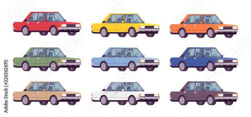 Garden Poster Cartoon cars Sedan set in bright colors