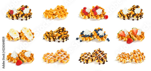 Fotomural  Collection of 12 Liege Style Belgian Waffles with Sweet Toppings Isolated on Whi
