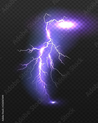 Realistic vector violet lightning on checkered background