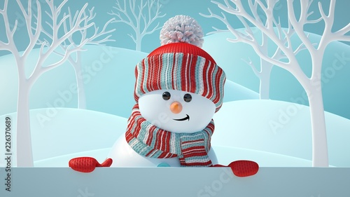 3d Render Cute Snowman Smiling Looking At Camera Holding