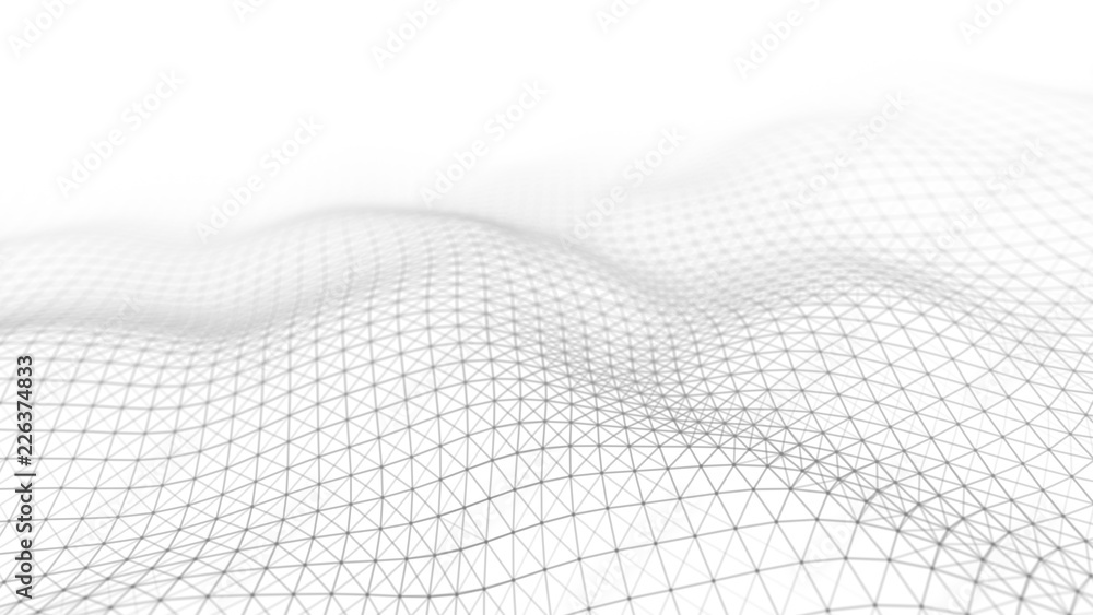 Fototapeta Wave white background. Abstract white futuristic background. Wave with connecting dots and lines on dark background. Wave of particles. 3D rendering.