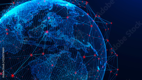 Staande foto Abstract wave Global network concept. World map point. Global network planet Earth. 3D rendering.