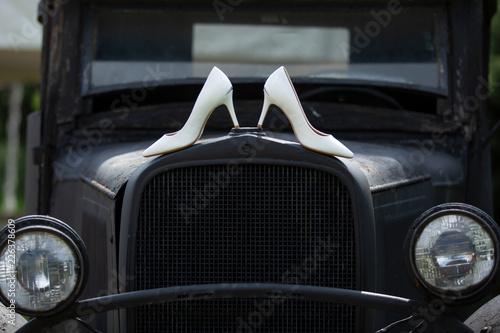 Poster Vintage voitures old vintage car wedding