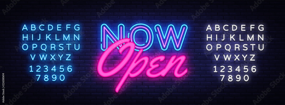 Fototapety, obrazy: Now Open neon text vector design template. Now Open neon logo, light banner design element colorful modern design trend, night bright advertising, bright sign. Vector. Editing text neon sign
