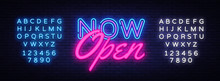 Now Open Neon Text Vector Desi...