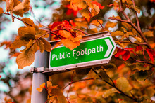 Bright Green Public Footpath Sign In The Middle Of A Orange And Red Forest In Autumn