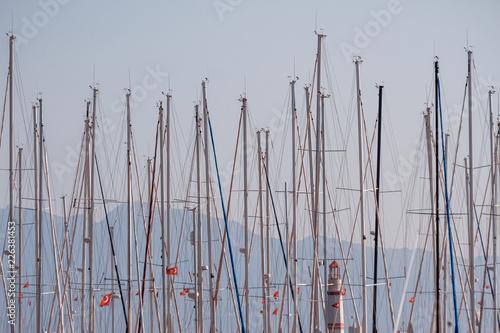 Valokuva  Poles of Sailing Yachts Against Blue Sky Background