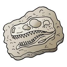 Vector Gradient Illustration Cartoon Ancient Fossil
