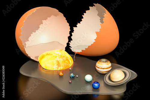 Fotografia, Obraz  Birth of the Universe from egg concept, 3D rendering