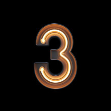 Number 3, Alphabet Made From Neon Light With Clipping Path. 3D Illustration