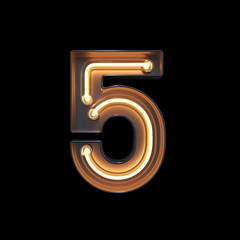 Number 5, Alphabet made from Neon Light with clipping path. 3D illustration