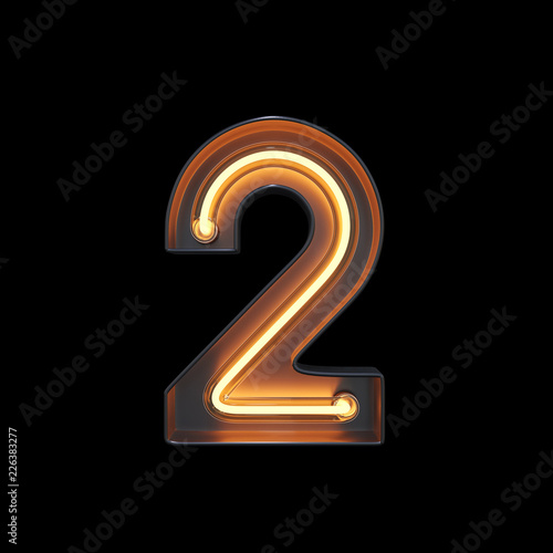 Number 2, Alphabet made from Neon Light with clipping path Fototapeta