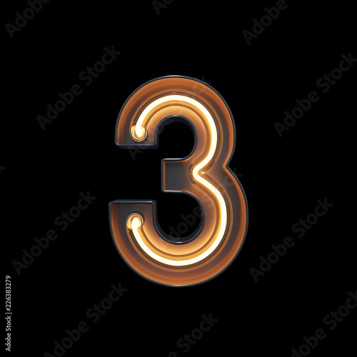 fototapeta na szkło Number 3, Alphabet made from Neon Light with clipping path. 3D illustration