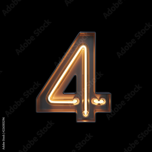 fototapeta na ścianę Number 4, Alphabet made from Neon Light with clipping path. 3D illustration