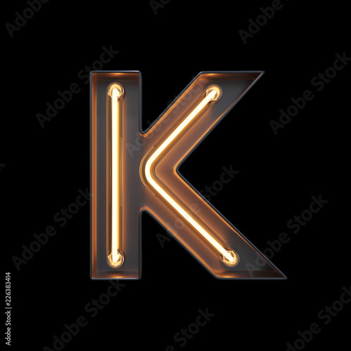 Neon Light Alphabet K with clipping path. 3D illustration Wall mural