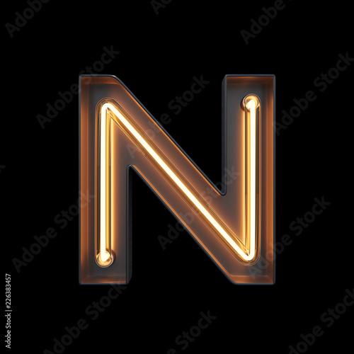fototapeta na ścianę Neon Light Alphabet N with clipping path. 3D illustration