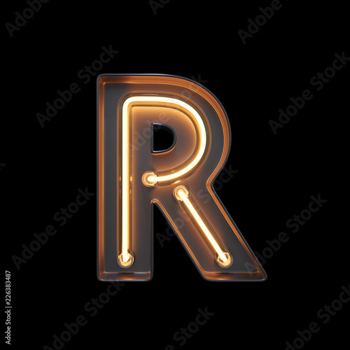 fototapeta na szkło Neon Light Alphabet R with clipping path. 3D illustration