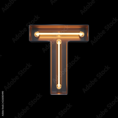 mata magnetyczna Neon Light Alphabet T with clipping path. 3D illustration