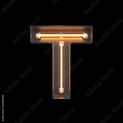 obraz dibond Neon Light Alphabet T with clipping path. 3D illustration