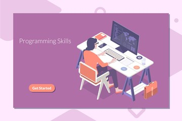 Modern flat design isometric concept of Programming and coding skills for banner and website.Vector illustration