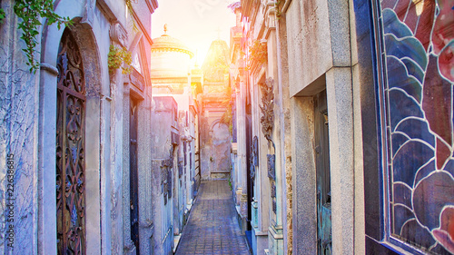 Famous La Recoleta Cemetery in Buenos Aires that contains the graves of notable people, including presidents of Argentina