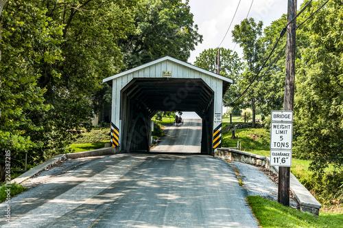 Fotografija  Amish Covered Bridge Buggy Going Through It