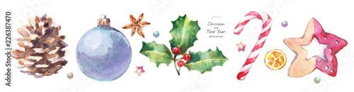 Fototapeta watercolor isolated illustration of Christmas and New Year decorations on the tree, hand-drawn drawings: ball, pine cone, holly, candy cane, orange, anise, wooden star obraz na płótnie