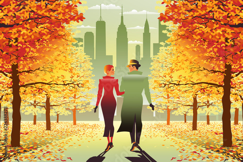 Slika na platnu Loving couple in New York Central Park in the fall
