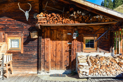 Garden Poster Brown Entrance door to old wooden cabin at mountain meadow in the austrian alps, Zillertal Austria