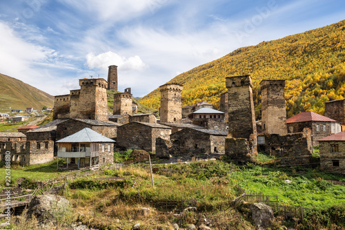 Ushguli village and typical defensive towers, Upper Svaneti, Georgia