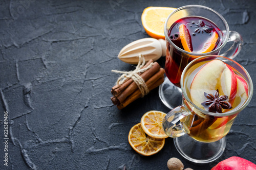 Fotografie, Obraz Two glasses of different type of mulled wine