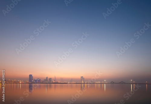Fototapeta Bahrain skyline at sunset obraz na płótnie