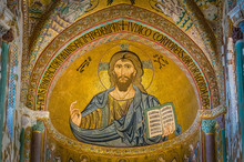 Golden Mosaic With Christ Pantocrator In The Apse Of Cefalù Cathedral. Sicily, Southern Italy.