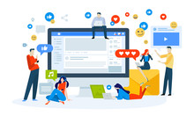 Vector Illustration Concept Of Social Media. Creative Flat Design For Web Banner, Marketing Material, Business Presentation, Online Advertising.