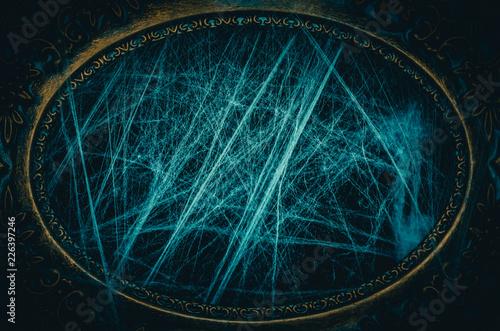 Fotografia, Obraz Antique frame is covered with spooky spiderweb dark halloween background copy sp