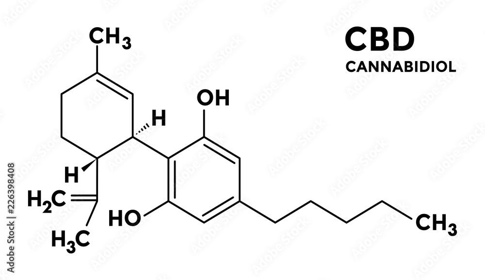 Fototapeta Cannabidiol - CBD - structural sceletal formula