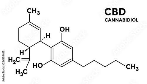Obraz Cannabidiol - CBD - structural sceletal formula - fototapety do salonu