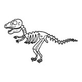 Fototapeta Dinusie - black and white cartoon dinosaur bones