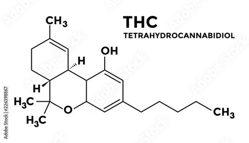 Obraz na plátně Tetrahydrocannabinol - THC - structural formula