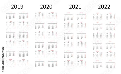 Calendario 2020 Vettoriale Gratis.Calender 2019 2020 2021 2022 Acquista Questo Vettoriale