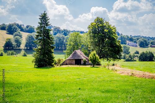 Papiers peints Vert chaux Paysage d'Auvergne