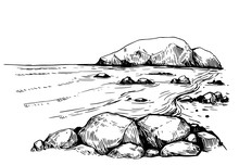 Sea With Rocks. Hand Drawn Ill...