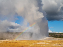 Old Faithful Erupting With A R...