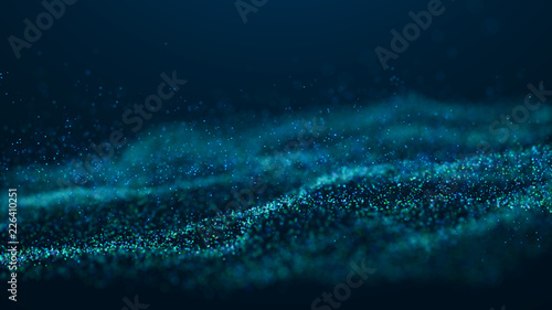 Keuken foto achterwand Fractal waves Wave Glow. Wave of particles. Wave 3d. 3d rendering. Futuristic blue dots background with a dynamic wave. Abstract Big Data Visualization.