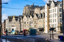Square With Historic Buildings And Colourful Shopfronts In Edinburgh City Centre On A Sunny Winter Day