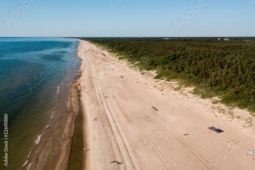 aero photo drone beach palanga lithuania on a sunny day Canvas Print