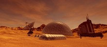 Extremely Detailed And Realistic High Resolution 3d Illustration Of A Colony On Mars Like Planet. Elements Of This Image Are Furnished By Nasa.