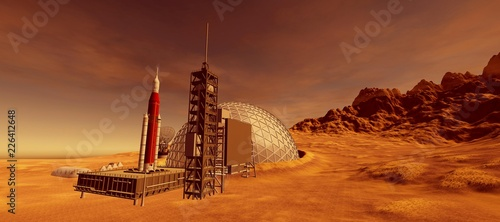 Extremely detailed and realistic high resolution 3d illustration of a colony on mars like planet Fototapete