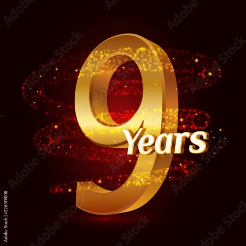 Fotografia  9 years golden anniversary 3d logo celebration with Gold glittering spiral star dust trail sparkling particles