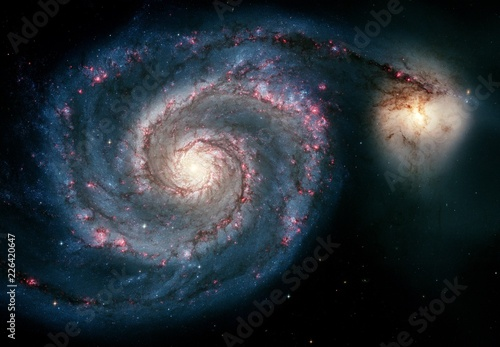 Color-Enchanced Whirlpool Galaxy Universe Nebula Background Wallpaper Original Image by NASA